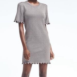 Banana Republic Pom Pom Accent Gray Shift Dress